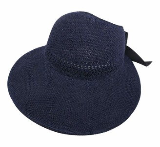 Bovkae Women's Wide Brim Hat Ladies Summer Hat Floppy Beach Sunscreen Cycling Adjustable Cap Breathable Straw Hat Bucket Hats Bowknot Sun Hat Navy
