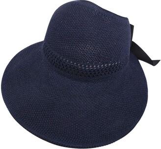 CUTUDU Ladies Straw Sun Hat Packable Roll Brim Summer UV Beach Sunhat Fashion Knitted Bowknot Cap Adjustable Headwrap Turban (Navy One Size)
