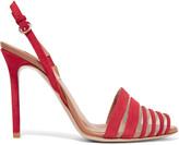 Valentino Mesh-trimmed suede sandals