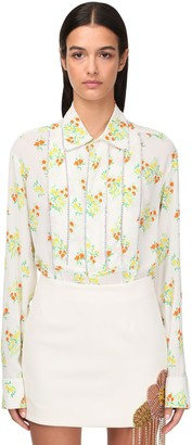 Area Floral Print Shirt W/ Crystals