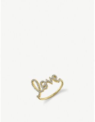 Sydney Evan The Alkemistry large Love Script 14ct yellow gold and diamond ring
