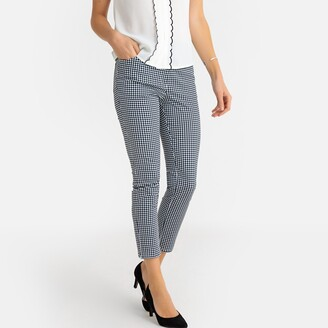 """Anne Weyburn Gingham Check Ankle Grazer Trousers, Length 26.5"""""""