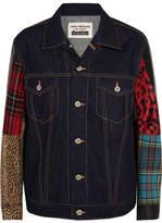Junya Watanabe Faux Leather, Faux Fur, Cotton-blend, Wool-blend And Denim Jacket - Blue
