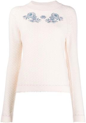 Vilshenko Floral-Embroidery Crochet Jumper