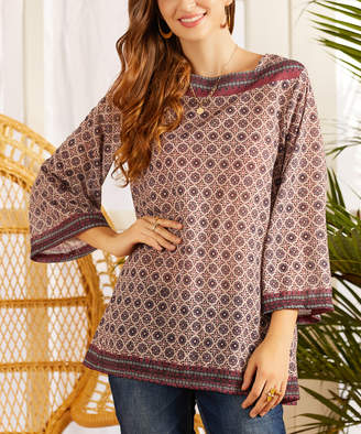 Suzanne Betro Weekend Women's Tunics 101BURGUNDY/GREY - Burgundy & Gray Geometric Three-Quarter Sleeve Tunic - Women & Plus