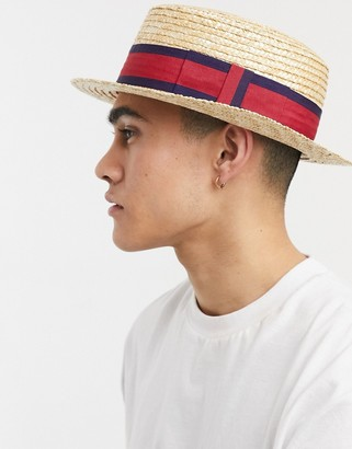 ASOS DESIGN straw boater hat with band detail