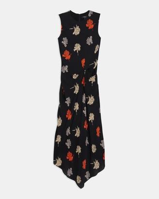 Theory Draped Tuck Dress in Carnation Jacquard