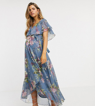 Asos DESIGN Maternity split sleeve cape back dipped hem midi dress with tie shoulder in floral print
