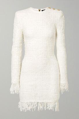 Balmain Button-embellished Fringed Metallic Tweed Mini Dress - White