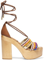 Sam Edelman Mel Embellished Canvas Platform Sandals - Ecru