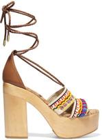 Sam Edelman Mel Embellished Canvas Platform Sandals - Ecru