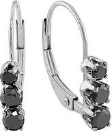 Black Diamond 14k White Gold 1/2-ct. T.W. 3-Stone Drop Earrings
