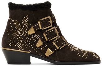 Chloé Brown Shearling Suede Susanna Boots