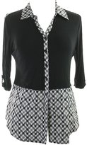 Style&Co. Styleco Style & Co. Womens Petites Houndstooth Sheer Trim Blouse B/W PM