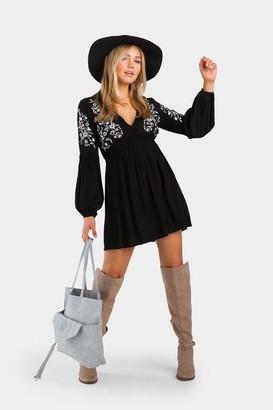 francesca's Irine Embroidered Shift Dress - Black