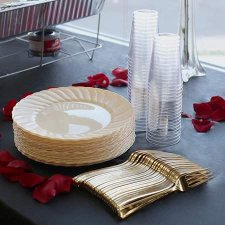 Kaya Collection - Bone Disposable Plastic Buffet Party Package - Includes Buffet Plates, Gold Forks and Tumblers (180 Person Package)