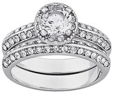 Vintage 2-Piece Brilliant Round Cut Cubic Zirconia & Inlaid Crystal Wedding Ring Set