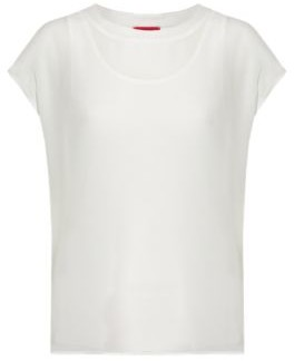 HUGO BOSS Two In One Top With Chiffon Overlay - White