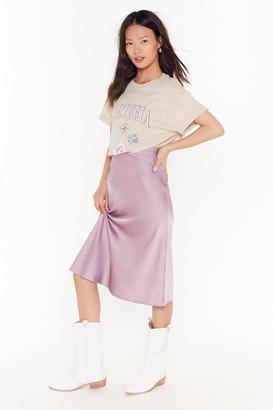 Nasty Gal Womens Slip Into It Satin Midi Skirt - Purple - 14