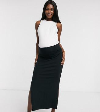 Mama Licious Mamalicious Maternity organic jersey maxi skirt in black
