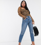 Asos DESIGN Petite Farleigh high waisted slim mom jeans with slash knee rips