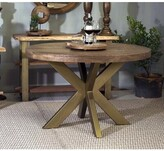 Bronx Elko X Base Dining Table Ivy Table Base Color: Antique Brushed Gold, Table Top Color: Light Brown