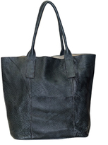 Black & Blue Amalfi Leather Tote