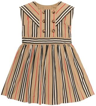 BURBERRY KIDS Icon Stripe cotton-poplin dress