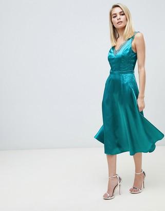 Little Mistress lace trim slinky midi dress in green