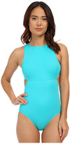 DKNY Street Cast Solids High Neck Cut Out Maillot