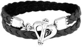King Baby Studio Sterling Silver Braided Leather Heart Toggle Clasp Wrap Bracelet