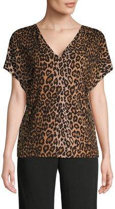 Rachel Roy Leopard-Print V-Neck Top