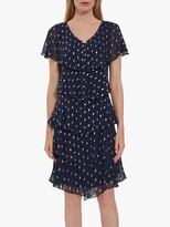 Thumbnail for your product : Gina Bacconi Hafsa Tiered Abstract Motif Dress, Navy/Gold