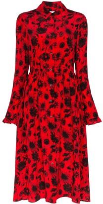 Les Rêveries open back floral shirt dress
