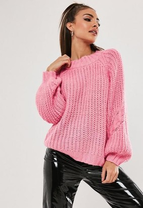 Missguided Pink Raglan Cable Knit Sleeve Sweater
