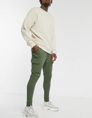 ASOS DESIGN skinny joggers with cargo pockets in khaki