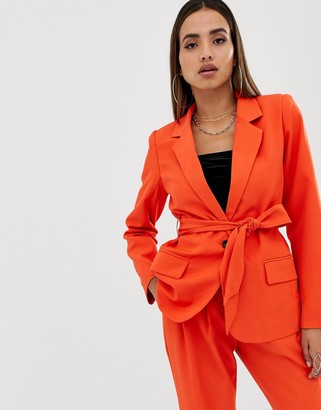 Parallel Lines tie waist blazer two-piece-Red