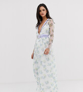 Dusty Daze plunge lace maxi dress with waist belt