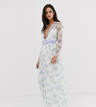Dusty Daze plunge lace maxi dress with waist belt-White