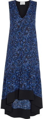 3.1 Phillip Lim Asymmetric Gathered Printed Crepe Midi Dress