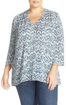 Sejour Plus Size Women's Print Split Neck Blouse