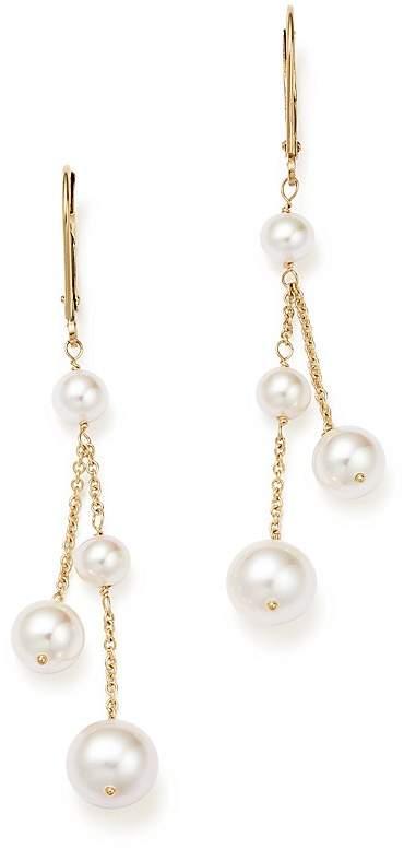 Bloomingdale's Cultured Freshwater Pearl Double Drop Earrings in 14K Yellow Gold, 4.5mm