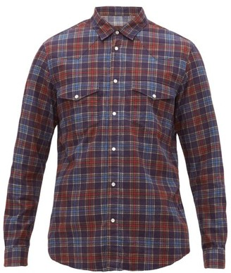 Altea Houston Checked Brushed-cotton Twill Shirt - Mens - Navy Multi