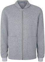 Blue and White Pinstripe Zip Through Smart Jacket