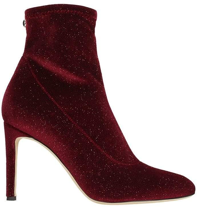 Giuseppe Zanotti Celeste Burgundy Velvet Glitter Ankle Boots