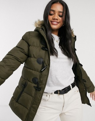 Brave Soul wizard padded coat with faux fur trim hood-Green