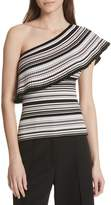 Milly Microstripe Flounce One-Shoulder Top