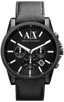 Armani Exchange Chronograph Leather Strap Watch