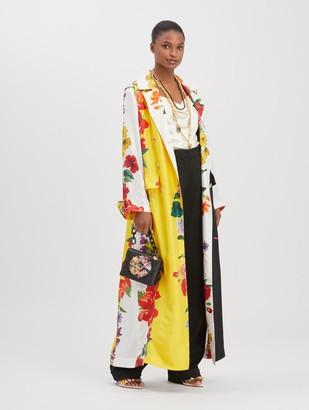 Oscar de la Renta Floral Stripe Silk Coat