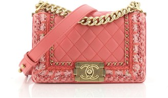 Chanel Jacket Boy Flap Bag Quilted Lambskin with Tweed Small